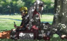 Наруто и Джирайя отдыхают под деревом